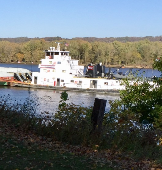 Mississippi barges at Guttenburg, Iowa